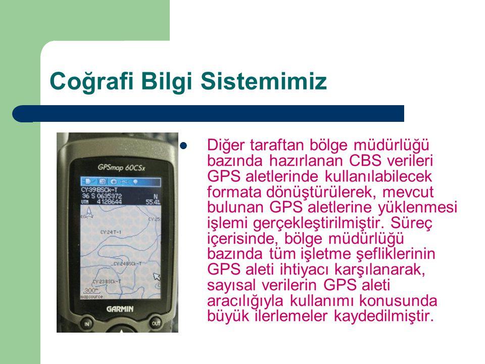 Coğrafi Bilgi Sistemimiz Diğer taraftan bölge müdürlüğü bazında hazırlanan CBS verileri GPS aletlerinde kullanılabilecek formata dönüştürülerek, mevcu