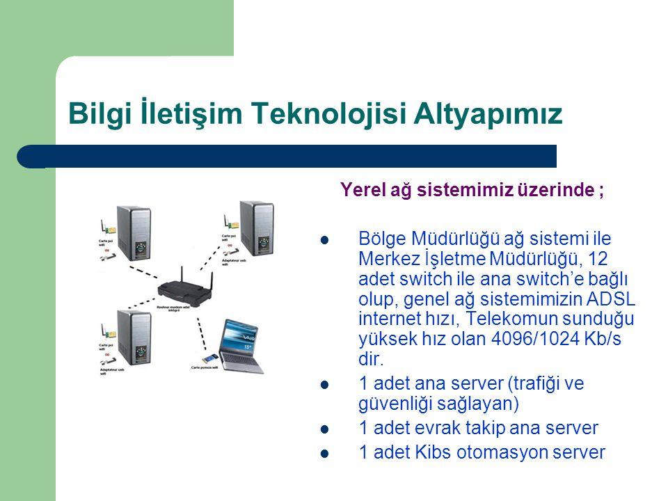 Bilgi İletişim Teknolojisi Altyapımız Yerel ağ sistemimiz üzerinde ; Bölge Müdürlüğü ağ sistemi ile Merkez İşletme Müdürlüğü, 12 adet switch ile ana s