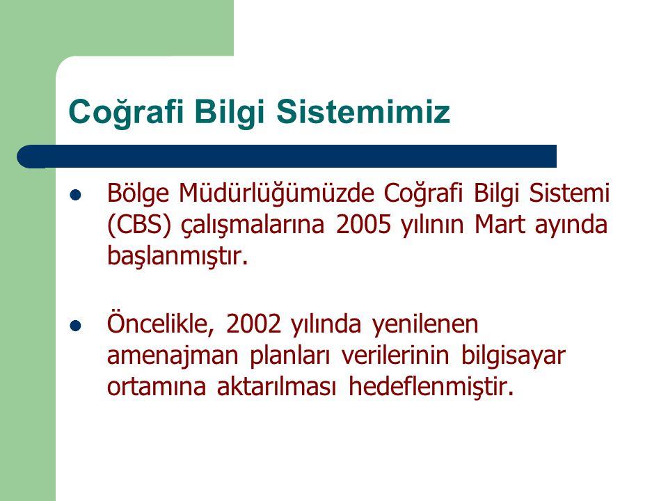 Coğrafi Bilgi Sistemimiz Bölge Müdürlüğümüzde Coğrafi Bilgi Sistemi (CBS) çalışmalarına 2005 yılının Mart ayında başlanmıştır. Öncelikle, 2002 yılında