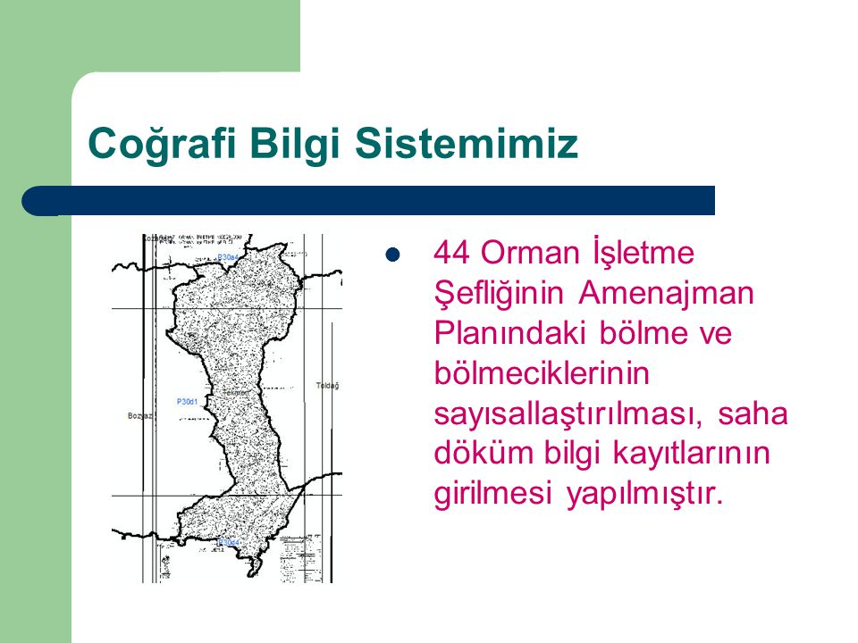 Coğrafi Bilgi Sistemimiz 44 Orman İşletme Şefliğinin Amenajman Planındaki bölme ve bölmeciklerinin sayısallaştırılması, saha döküm bilgi kayıtlarının