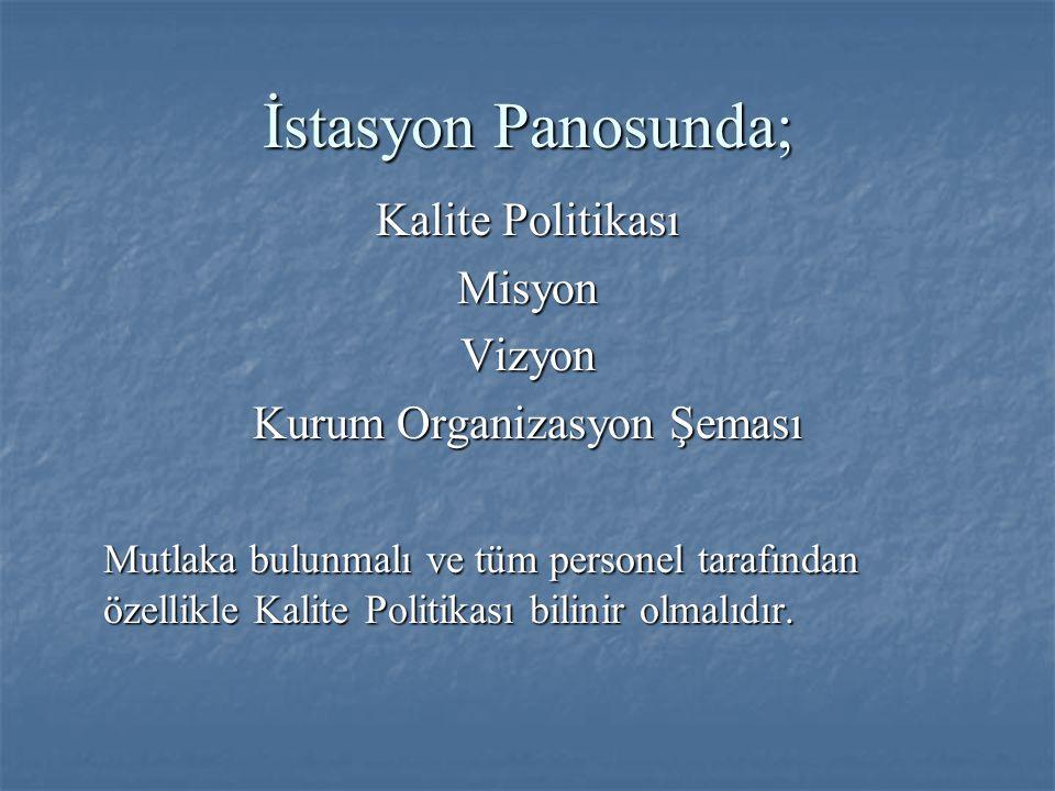 İstasyon Panosunda; Kalite Politikası MisyonVizyon Kurum Organizasyon Şeması Mutlaka bulunmalı ve tüm personel tarafından özellikle Kalite Politikası bilinir olmalıdır.