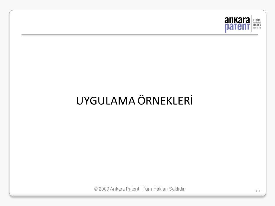 UYGULAMA ÖRNEKLERİ 101 © 2009 Ankara Patent | Tüm Hakları Saklıdır.