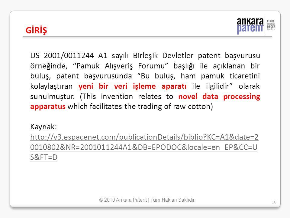 """US 2001/0011244 A1 sayılı Birleşik Devletler patent başvurusu örneğinde, """"Pamuk Alışveriş Forumu"""" başlığı ile açıklanan bir buluş, patent başvurusunda"""