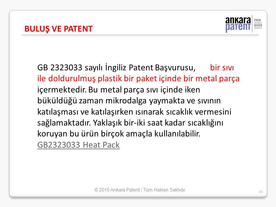 GB 2323033 sayılı İngiliz Patent Başvurusu, bir sıvı ile doldurulmuş plastik bir paket içinde bir metal parça içermektedir. Bu metal parça sıvı içinde