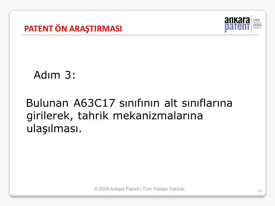 Adım 3: Bulunan A63C17 sınıfının alt sınıflarına girilerek, tahrik mekanizmalarına ulaşılması. PATENT ÖN ARAŞTIRMASI 89 © 2009 Ankara Patent | Tüm Hak