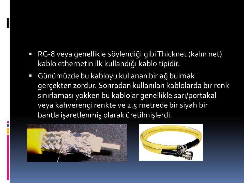  Günümüzde karşılaşabileceğiniz tek koaksiyel ağ kablosu RG- 58 dir.