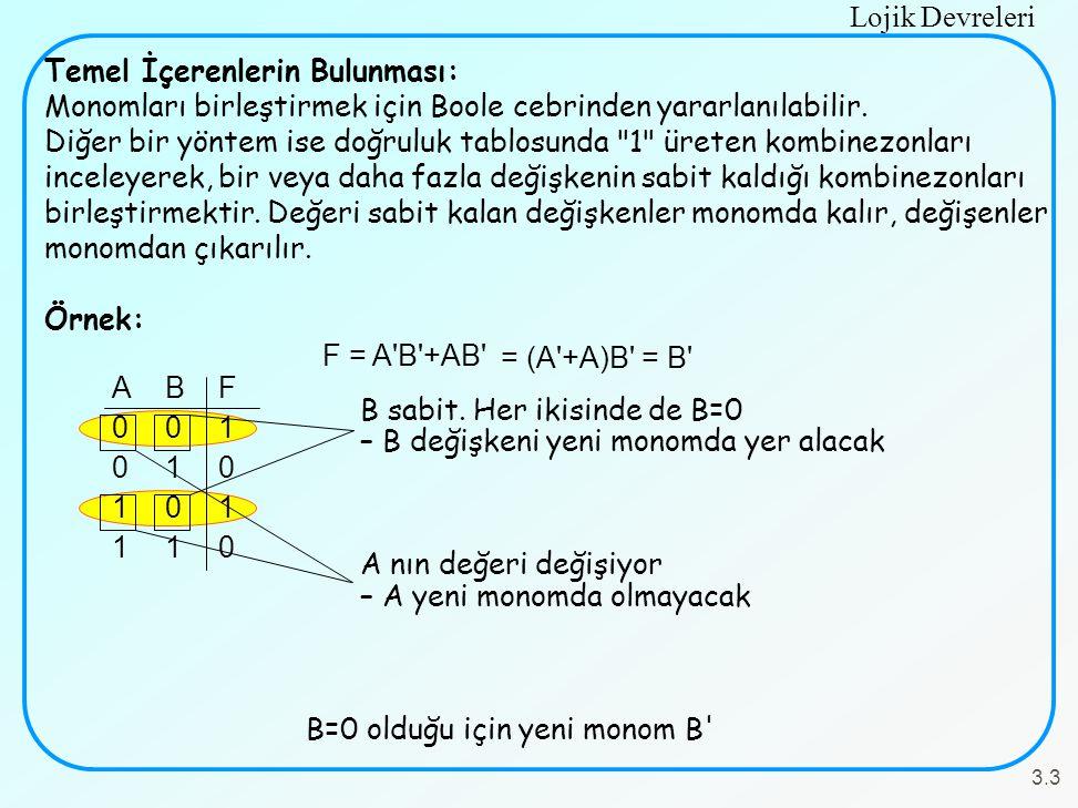 Lojik Devreleri 3.3 Temel İçerenlerin Bulunması: Monomları birleştirmek için Boole cebrinden yararlanılabilir. Diğer bir yöntem ise doğruluk tablosund