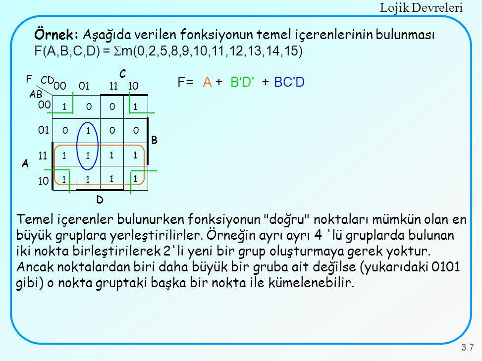 Lojik Devreleri 3.7 Örnek: Aşağıda verilen fonksiyonun temel içerenlerinin bulunması F(A,B,C,D) =  m(0,2,5,8,9,10,11,12,13,14,15) C B 00 01 11 10 100