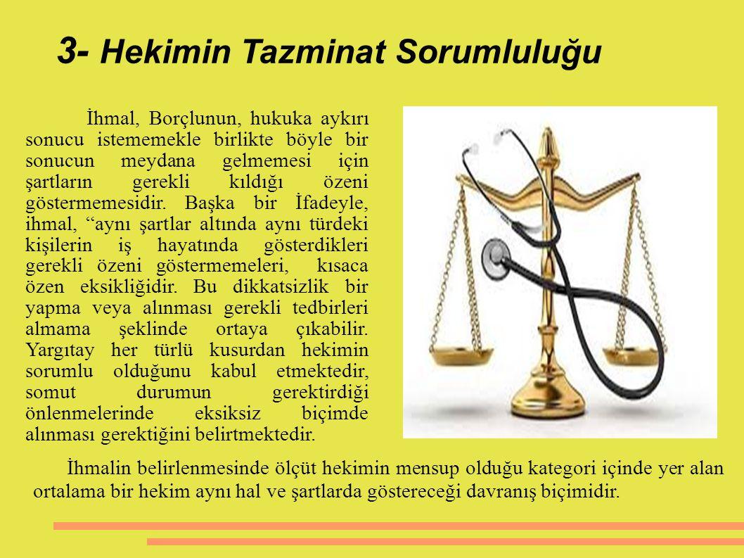 3- Hekimin Tazminat Sorumluluğu İhmal, Borçlunun, hukuka aykırı sonucu istememekle birlikte böyle bir sonucun meydana gelmemesi için şartların gerekli