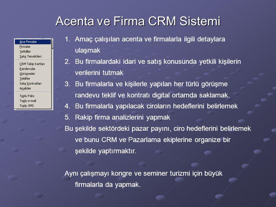Acenta ve Firma CRM Sistemi 1.Amaç çalışılan acenta ve firmalarla ilgili detaylara ulaşmak 2.Bu firmalardaki idari ve satış konusunda yetkili kişilerin verilerini tutmak 3.Bu firmalarla ve kişilerle yapılan her türlü görüşme randevu teklif ve kontratı digital ortamda saklamak.