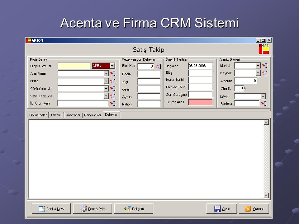 Acenta ve Firma CRM Sistemi