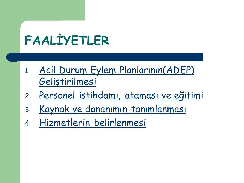 FAALİYETLER 1.Acil Durum Eylem Planlarının(ADEP) Geliştirilmesi 2.
