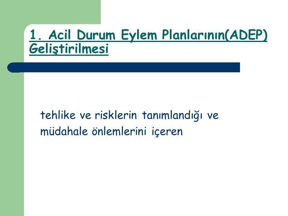 1. Acil Durum Eylem Planlarının(ADEP) Geliştirilmesi tehlike ve risklerin tanımlandığı ve müdahale önlemlerini içeren