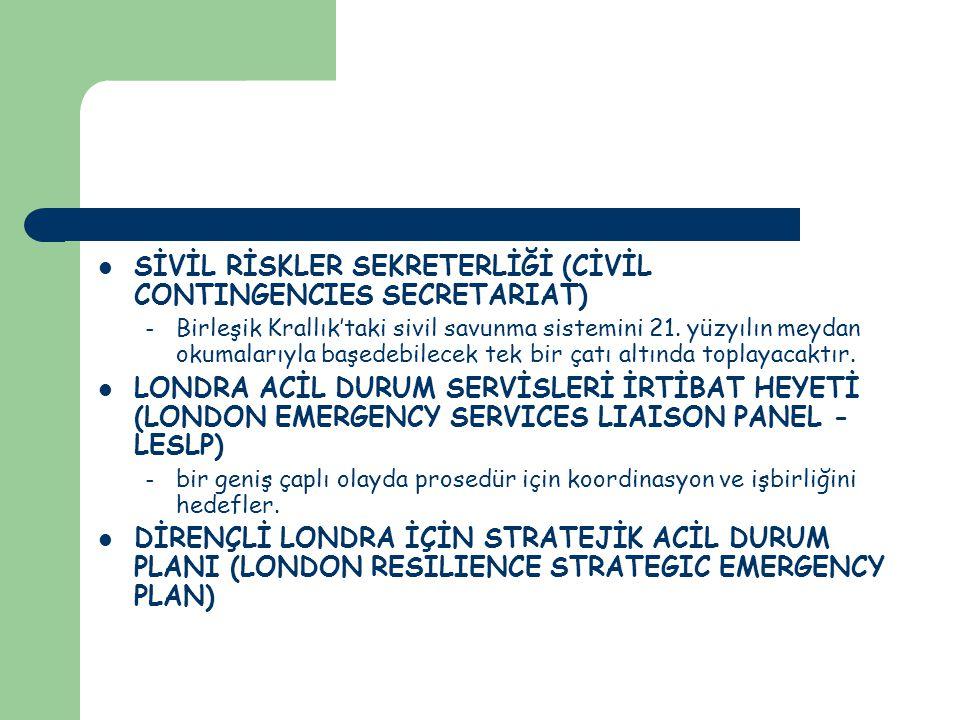 SİVİL RİSKLER SEKRETERLİĞİ (CİVİL CONTINGENCIES SECRETARIAT) – Birleşik Krallık'taki sivil savunma sistemini 21.