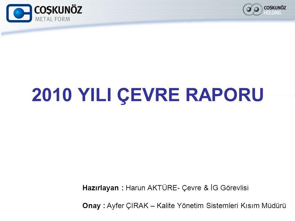 2010 YILI ÇEVRE RAPORU Hazırlayan : Harun AKTÜRE- Çevre & İG Görevlisi Onay : Ayfer ÇIRAK – Kalite Yönetim Sistemleri Kısım Müdürü