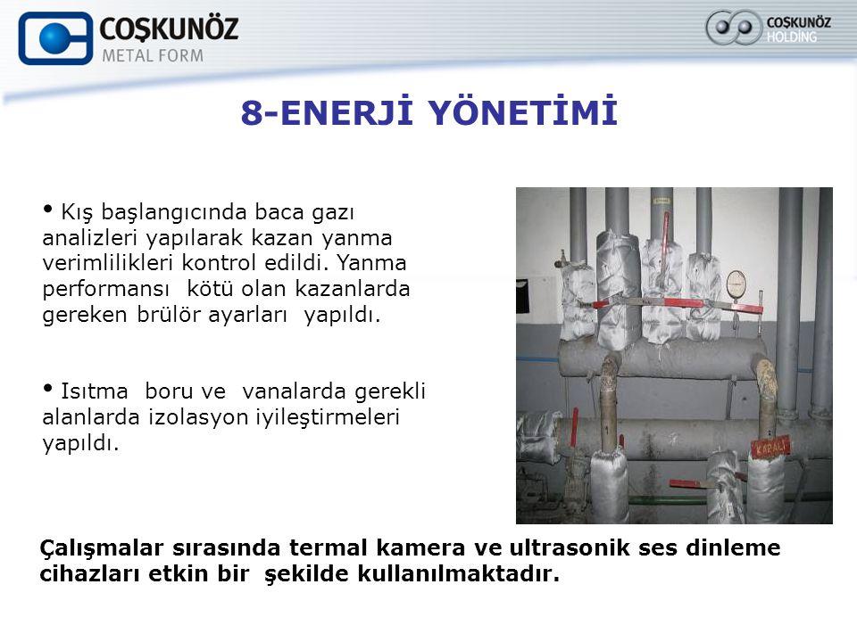 8-ENERJİ YÖNETİMİ Kış başlangıcında baca gazı analizleri yapılarak kazan yanma verimlilikleri kontrol edildi. Yanma performansı kötü olan kazanlarda g