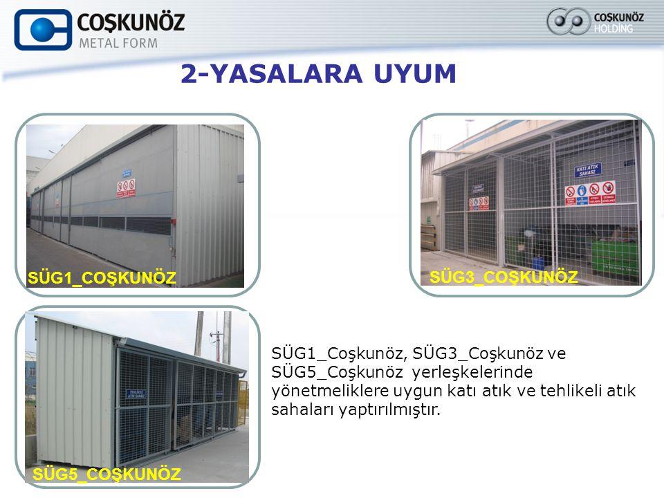 2-YASALARA UYUM SÜG1_Coşkunöz, SÜG3_Coşkunöz ve SÜG5_Coşkunöz yerleşkelerinde yönetmeliklere uygun katı atık ve tehlikeli atık sahaları yaptırılmıştır.