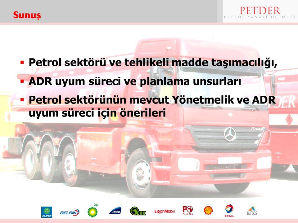  Petrol s ektörü ve tehlikeli madde taşımacılığı,  ADR uyum süreci ve planlama unsurları  Petrol sektörünün mevcut Yönetmelik ve ADR uyum süreci iç