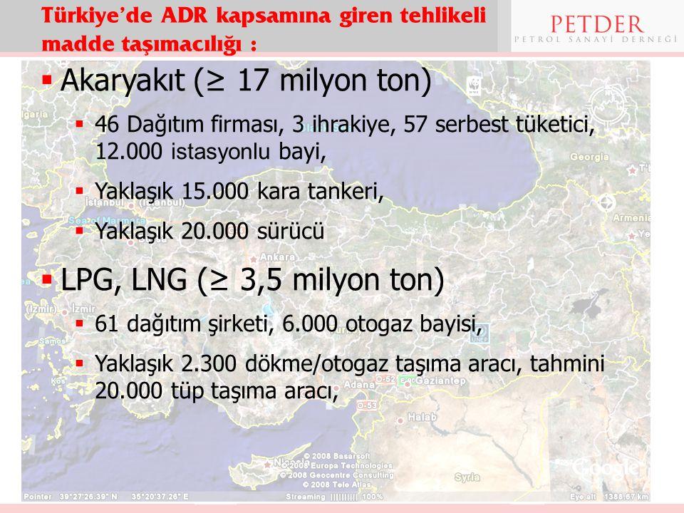 Türkiye'de ADR kapsamına giren tehlikeli madde taşımacılığı :  Akaryakıt (≥ 17 milyon ton)  46 Dağıtım firması, 3 ihrakiye, 57 serbest tüketici, 12.