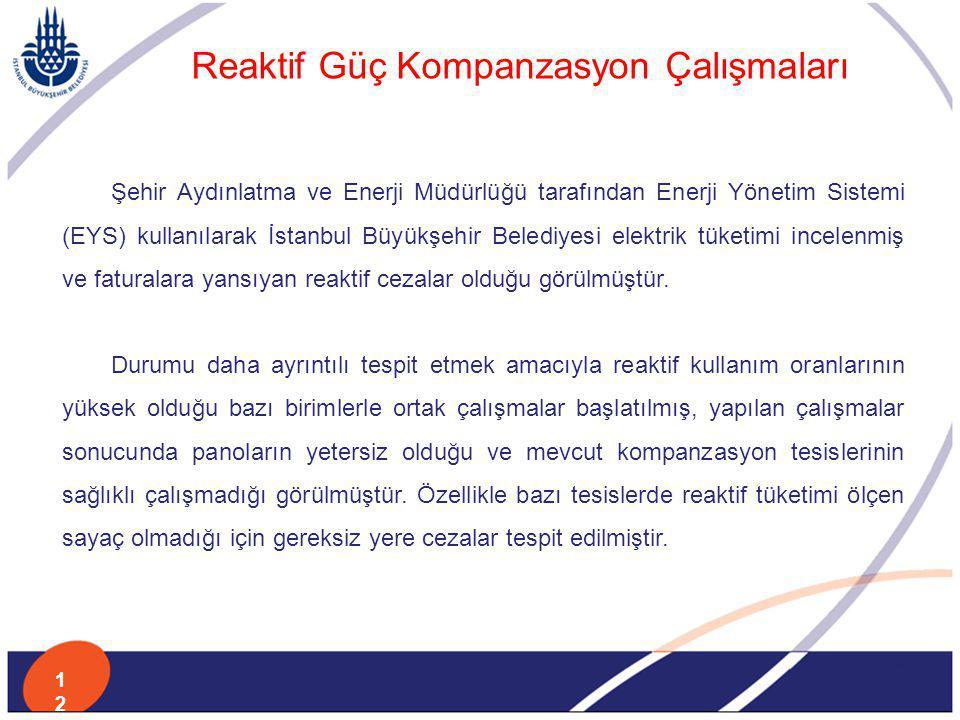Şehir Aydınlatma ve Enerji Müdürlüğü tarafından Enerji Yönetim Sistemi (EYS) kullanılarak İstanbul Büyükşehir Belediyesi elektrik tüketimi incelenmiş