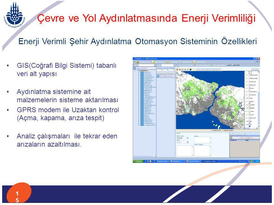 GIS(Coğrafi Bilgi Sistemi) tabanlı veri alt yapısı Aydınlatma sistemine ait malzemelerin sisteme aktarılması GPRS modem ile Uzaktan kontrol (Açma, kap