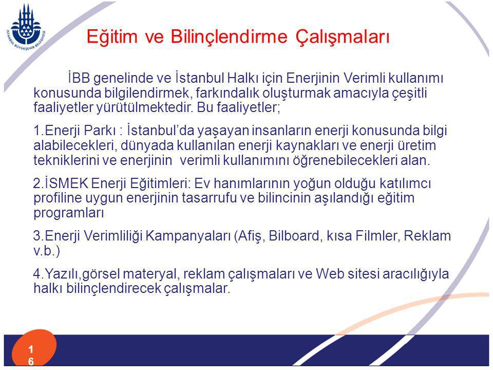 İBB genelinde ve İstanbul Halkı için Enerjinin Verimli kullanımı konusunda bilgilendirmek, farkındalık oluşturmak amacıyla çeşitli faaliyetler yürütül