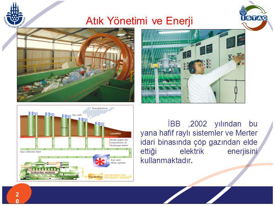 Atık Yönetimi ve Enerji İBB,2002 yılından bu yana hafif raylı sistemler ve Merter idari binasında çöp gazından elde ettiği elektrik enerjisini kullanm