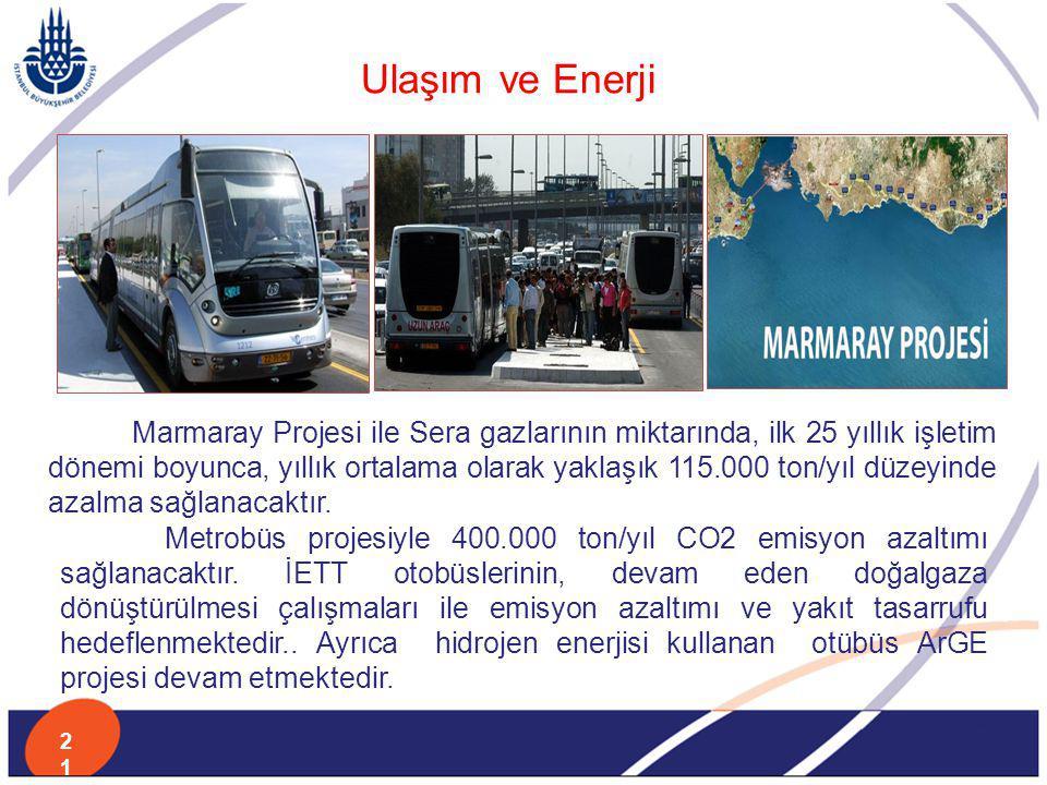 Ulaşım ve Enerji Marmaray Projesi ile Sera gazlarının miktarında, ilk 25 yıllık işletim dönemi boyunca, yıllık ortalama olarak yaklaşık 115.000 ton/yı