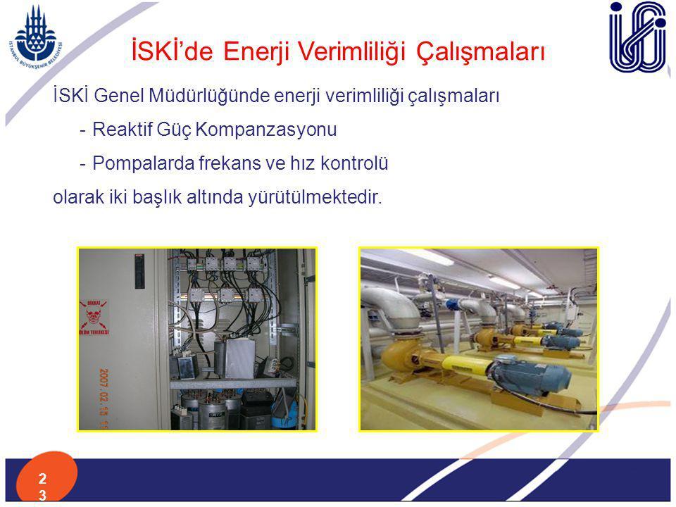 İSKİ'de Enerji Verimliliği Çalışmaları İSKİ Genel Müdürlüğünde enerji verimliliği çalışmaları -Reaktif Güç Kompanzasyonu -Pompalarda frekans ve hız ko