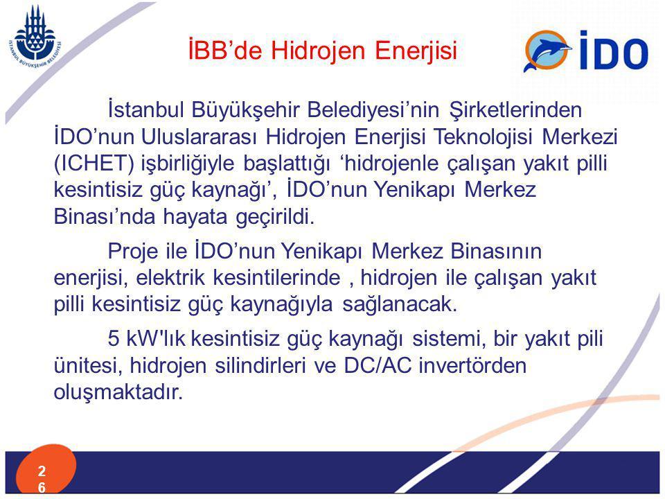 İstanbul Büyükşehir Belediyesi'nin Şirketlerinden İDO'nun Uluslararası Hidrojen Enerjisi Teknolojisi Merkezi (ICHET) işbirliğiyle başlattığı 'hidrojen