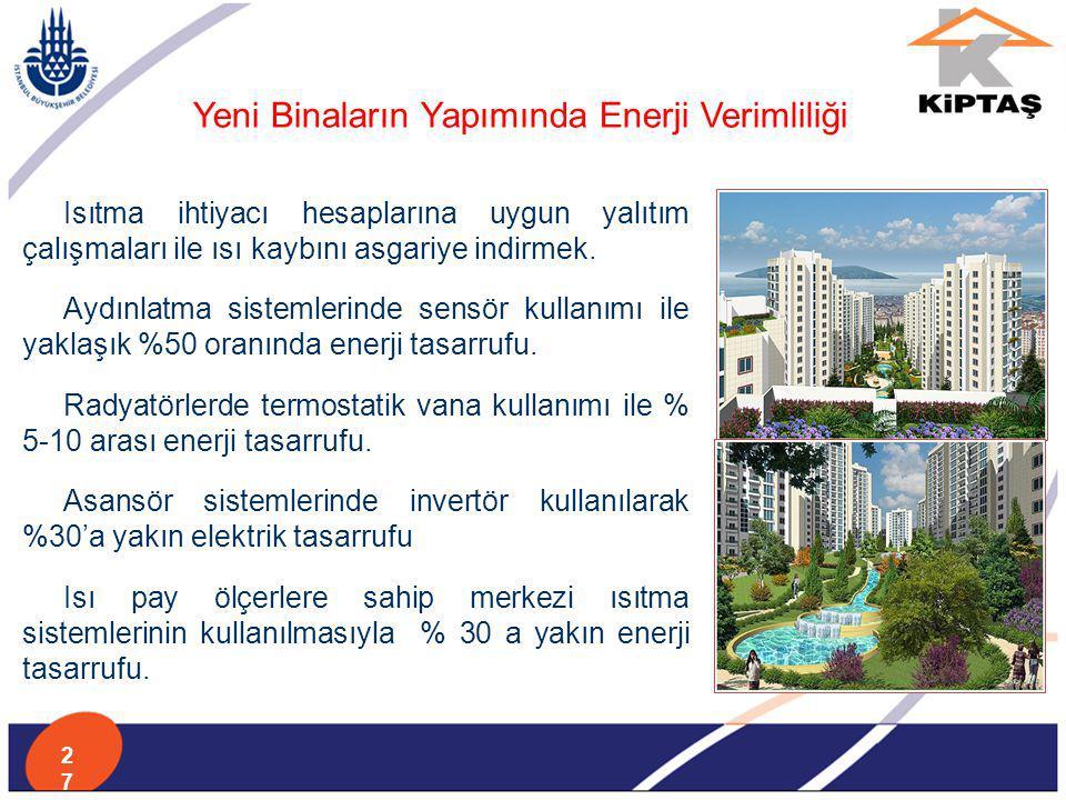 Yeni Binaların Yapımında Enerji Verimliliği Isıtma ihtiyacı hesaplarına uygun yalıtım çalışmaları ile ısı kaybını asgariye indirmek. Aydınlatma sistem