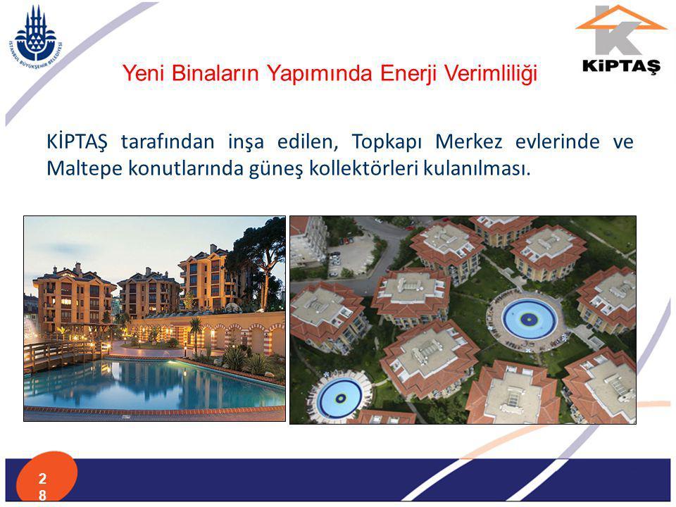 KİPTAŞ tarafından inşa edilen, Topkapı Merkez evlerinde ve Maltepe konutlarında güneş kollektörleri kulanılması. Yeni Binaların Yapımında Enerji Verim