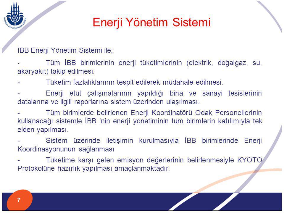 İBB Enerji Yönetim Sistemi ile; - Tüm İBB birimlerinin enerji tüketimlerinin (elektrik, doğalgaz, su, akaryakıt) takip edilmesi. - Tüketim fazlalıklar