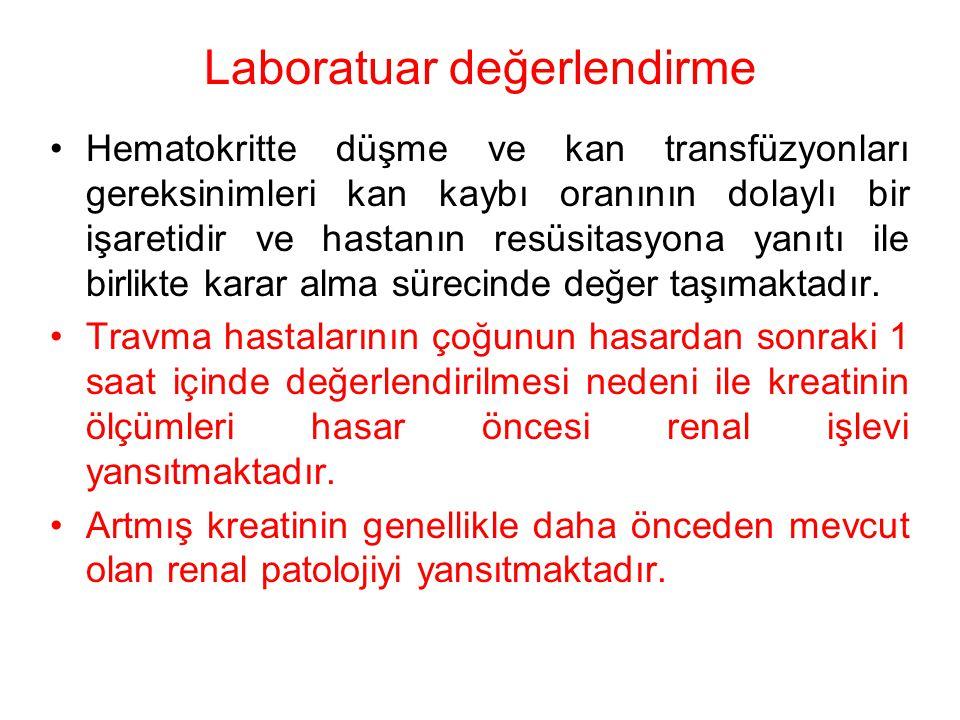 Laboratuar değerlendirme Hematokritte düşme ve kan transfüzyonları gereksinimleri kan kaybı oranının dolaylı bir işaretidir ve hastanın resüsitasyona