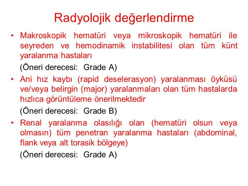 Radyolojik değerlendirme Makroskopik hematüri veya mikroskopik hematüri ile seyreden ve hemodinamik instabilitesi olan tüm künt yaralanma hastaları (Ö