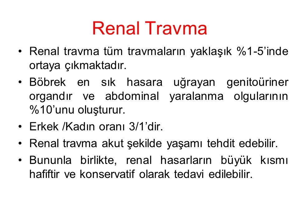 Renal Travma Renal travma tüm travmaların yaklaşık %1-5'inde ortaya çıkmaktadır. Böbrek en sık hasara uğrayan genitoüriner organdır ve abdominal yaral