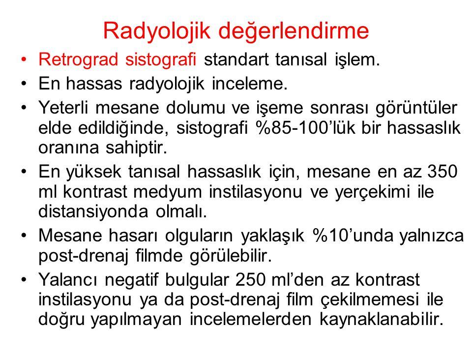 Radyolojik değerlendirme Retrograd sistografi standart tanısal işlem. En hassas radyolojik inceleme. Yeterli mesane dolumu ve işeme sonrası görüntüler