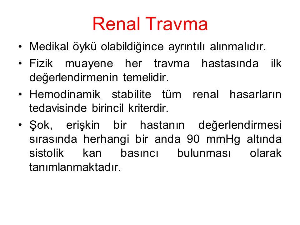 Renal Travma Medikal öykü olabildiğince ayrıntılı alınmalıdır. Fizik muayene her travma hastasında ilk değerlendirmenin temelidir. Hemodinamik stabili