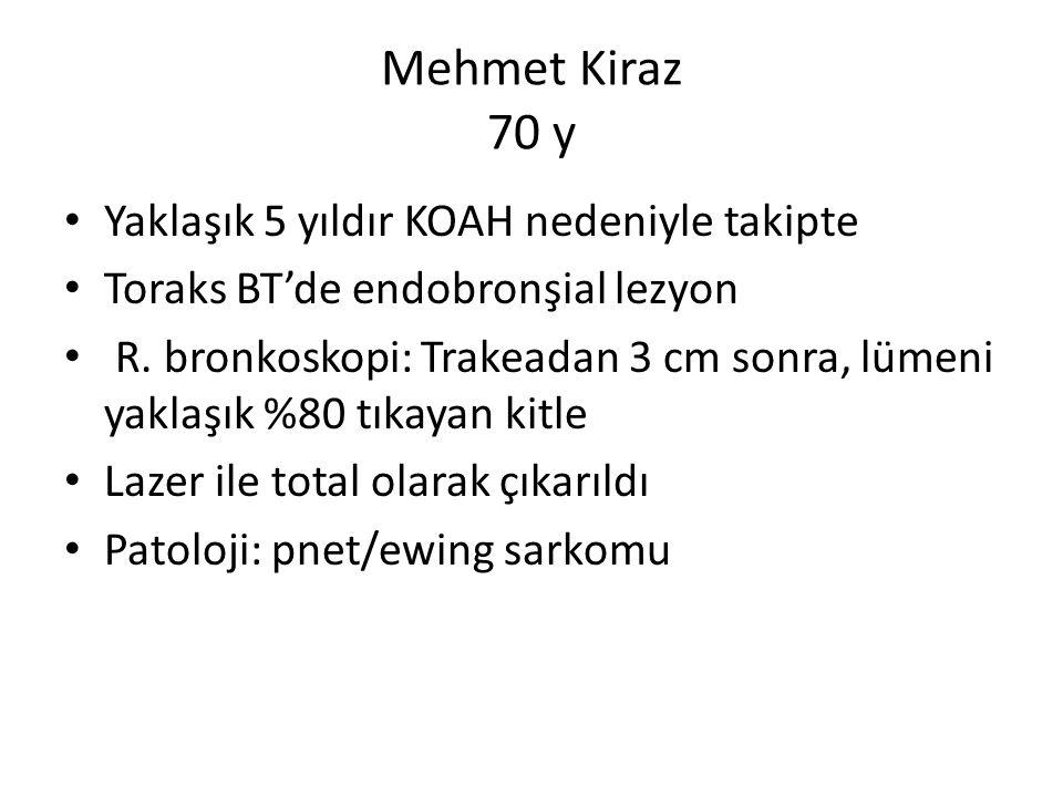 Mehmet Kiraz 70 y Yaklaşık 5 yıldır KOAH nedeniyle takipte Toraks BT'de endobronşial lezyon R.