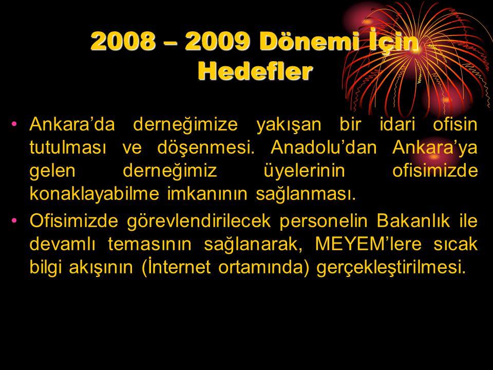 2008 – 2009 Dönemi İçin Hedefler Ankara'da derneğimize yakışan bir idari ofisin tutulması ve döşenmesi.