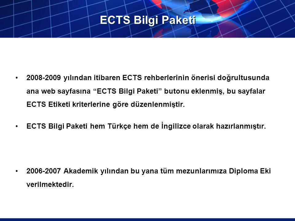"""ECTS Bilgi Paketi 2008-2009 yılından itibaren ECTS rehberlerinin önerisi doğrultusunda ana web sayfasına """"ECTS Bilgi Paketi"""" butonu eklenmiş, bu sayfa"""