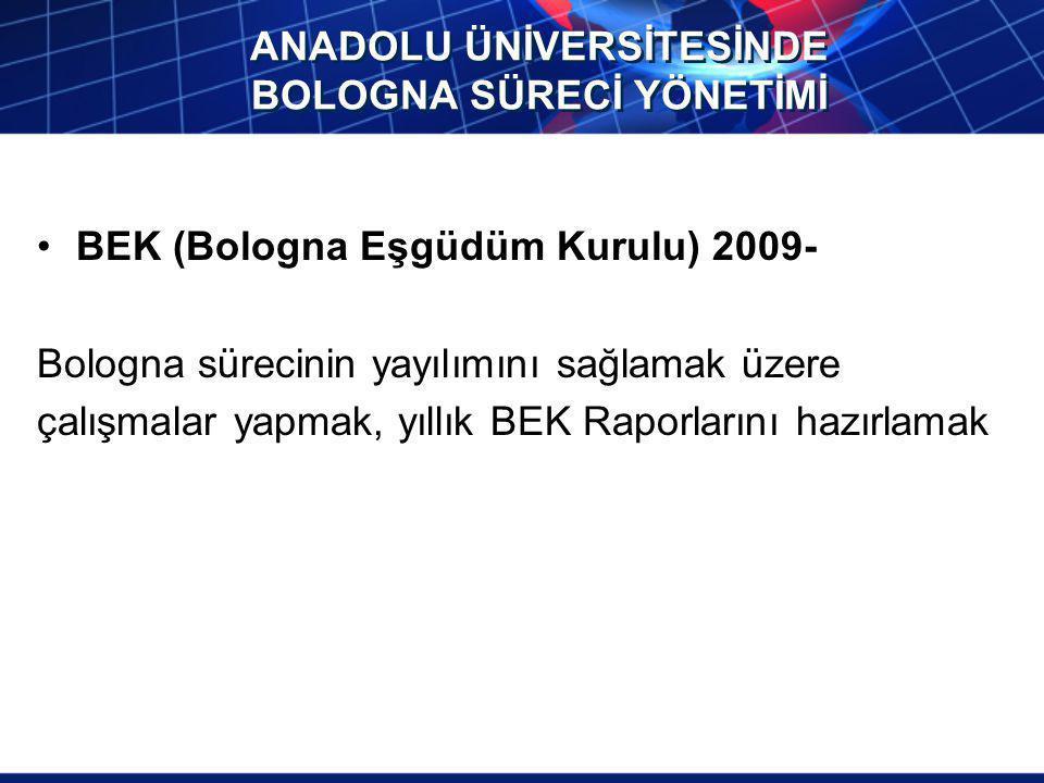 ANADOLU ÜNİVERSİTESİNDE BOLOGNA SÜRECİ YÖNETİMİ BEK (Bologna Eşgüdüm Kurulu) 2009- Bologna sürecinin yayılımını sağlamak üzere çalışmalar yapmak, yıll