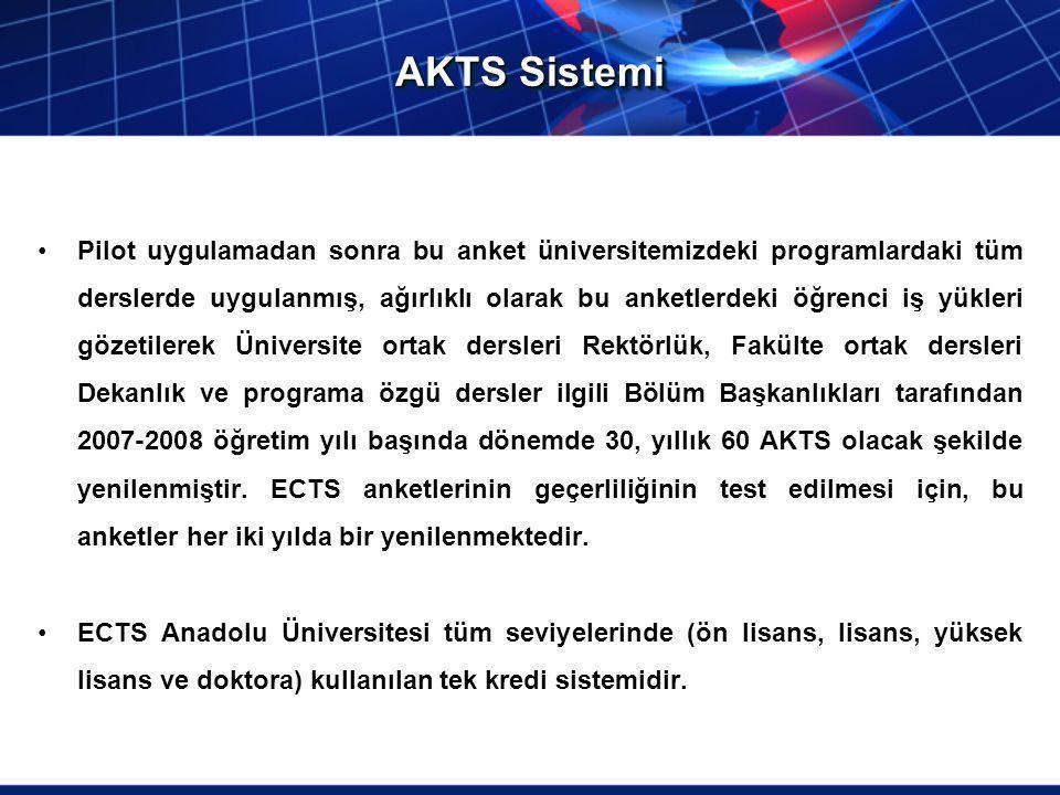 AKTS Sistemi Pilot uygulamadan sonra bu anket üniversitemizdeki programlardaki tüm derslerde uygulanmış, ağırlıklı olarak bu anketlerdeki öğrenci iş y