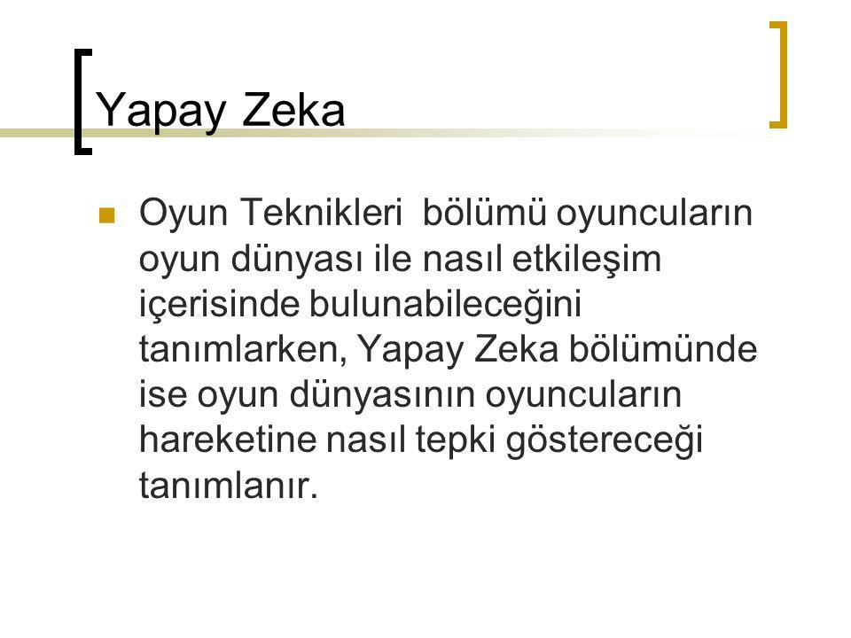Yapay Zeka Oyun Teknikleri bölümü oyuncuların oyun dünyası ile nasıl etkileşim içerisinde bulunabileceğini tanımlarken, Yapay Zeka bölümünde ise oyun dünyasının oyuncuların hareketine nasıl tepki göstereceği tanımlanır.
