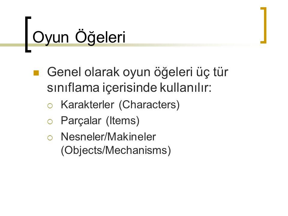 Oyun Öğeleri Genel olarak oyun öğeleri üç tür sınıflama içerisinde kullanılır:  Karakterler (Characters)  Parçalar (Items)  Nesneler/Makineler (Objects/Mechanisms)