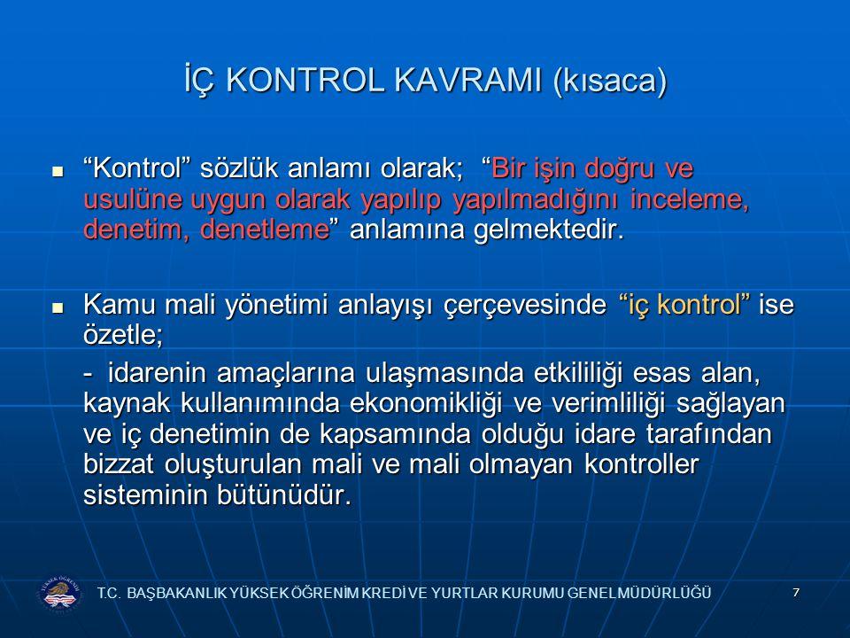 7 İÇ KONTROL KAVRAMI (kısaca) Kontrol sözlük anlamı olarak; Bir işin doğru ve usulüne uygun olarak yapılıp yapılmadığını inceleme, denetim, denetleme anlamına gelmektedir.