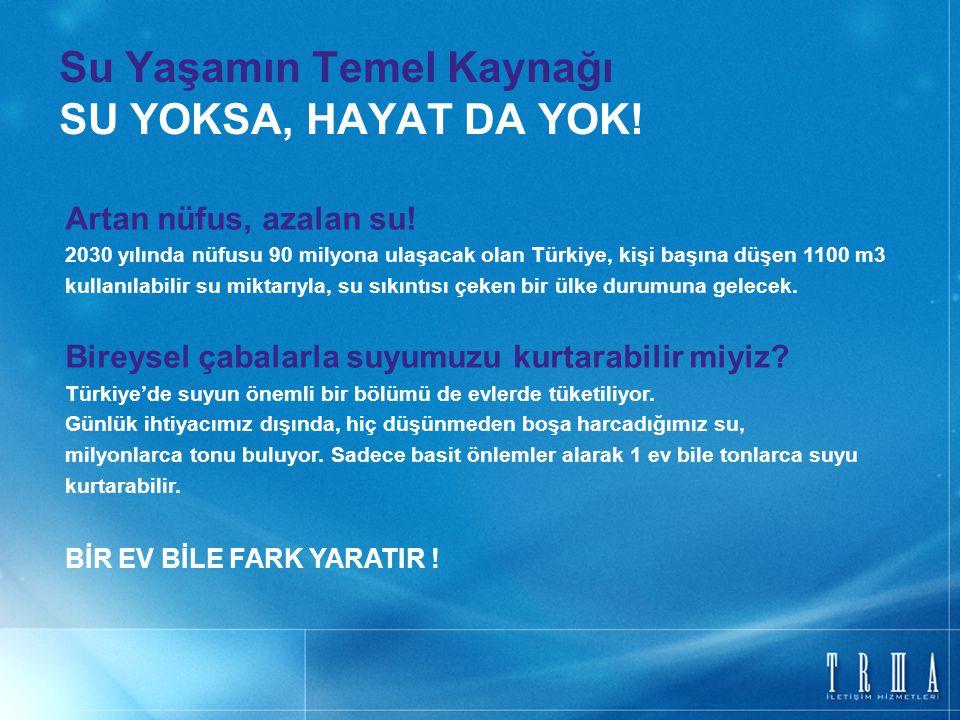 Su Yaşamın Temel Kaynağı SU YOKSA, HAYAT DA YOK! Artan nüfus, azalan su! 2030 yılında nüfusu 90 milyona ulaşacak olan Türkiye, kişi başına düşen 1100