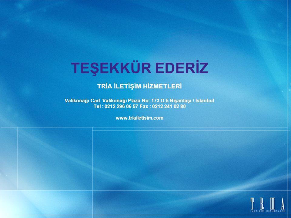 TEŞEKKÜR EDERİZ TRİA İLETİŞİM HİZMETLERİ Valikonağı Cad. Valikonağı Plaza No: 173 D:5 Nişantaşı / İstanbul Tel : 0212 296 06 57 Fax : 0212 241 02 80 w