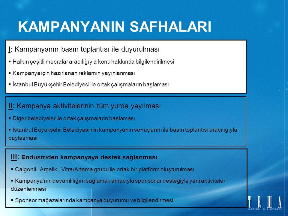 KAMPANYANIN SAFHALARI I: Kampanyanın basın toplantısı ile duyurulması  Halkın çeşitli mecralar aracılığıyla konu hakkında bilgilendirilmesi  Kampanya için hazırlanan reklamın yayınlanması  İstanbul Büyükşehir Belediyesi ile ortak çalışmaların başlaması II: Kampanya aktivitelerinin tüm yurda yayılması  Diğer belediyeler ile ortak çalışmaların başlaması  İstanbul Büyükşehir Belediyesi'nin kampanyanın sonuçlarını ile basın toplantısı aracılığıyla paylaşması III: Endustriden kampanyaya destek sağlanması  Calgonit, Arçelik, Vitra/Artema grubu ile ortak bir platform oluşturulması  Kampanya'nın devamlılığını sağlamak amacıyla sponsorlar desteğiyle yeni aktiviteler düzenlenmesi  Sponsor mağazalarında kampanya duyurumu ve bilgilendirmesi