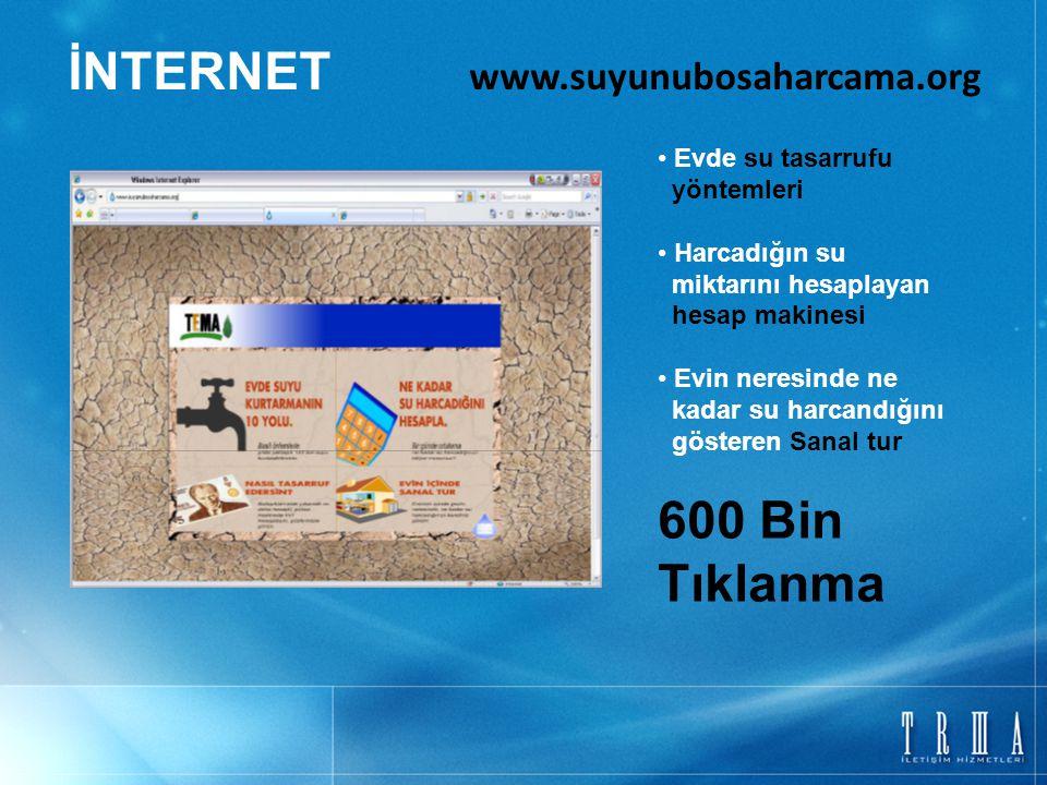 İNTERNET www.suyunubosaharcama.org Evde su tasarrufu yöntemleri Harcadığın su miktarını hesaplayan hesap makinesi Evin neresinde ne kadar su harcandığ